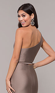 Image of one-shoulder long sexy formal dress with cut out. Style: CD-2137 Detail Image 2