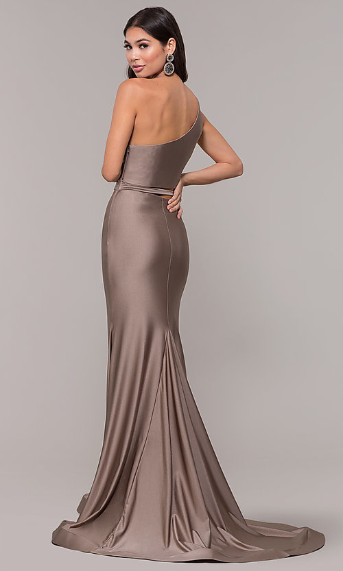 Image of one-shoulder long sexy formal dress with cut out. Style: CD-2137 Back Image