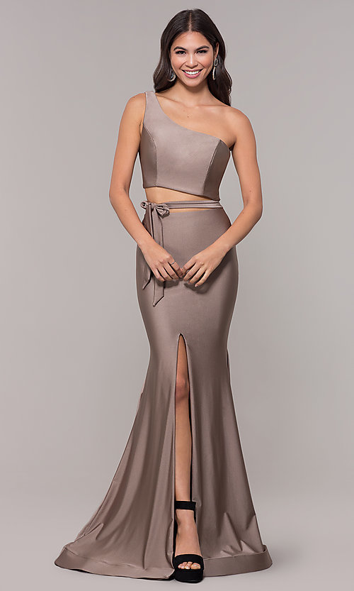 Image of one-shoulder long sexy formal dress with cut out. Style: CD-2137 Detail Image 3