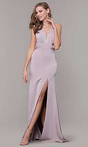 Image of v-neck long formal dress with slit and open back. Style: CD-1995 Front Image