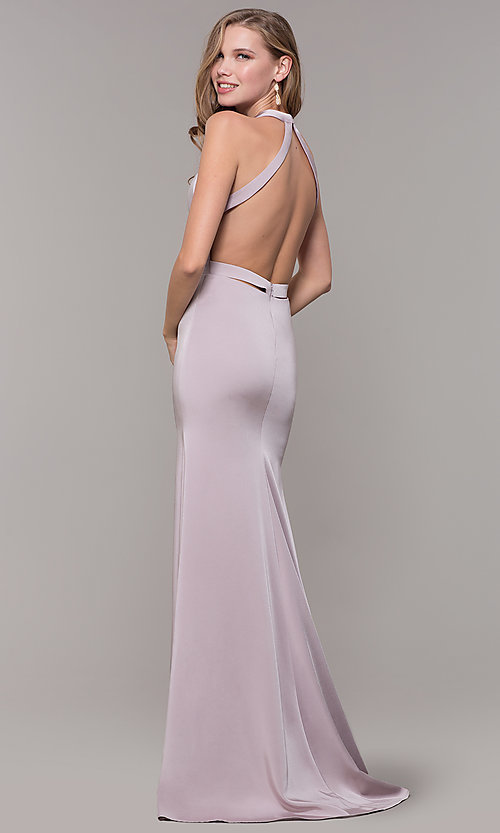 Image of v-neck long formal dress with slit and open back. Style: CD-1995 Back Image