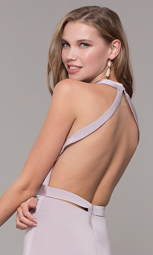 Image of v-neck long formal dress with slit and open back. Style: CD-1995 Detail Image 2