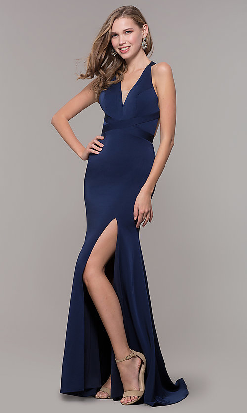 Image of v-neck long formal dress with slit and open back. Style: CD-1995 Detail Image 3