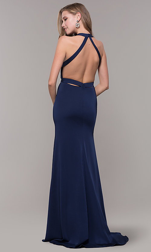 Image of v-neck long formal dress with slit and open back. Style: CD-1995 Detail Image 4