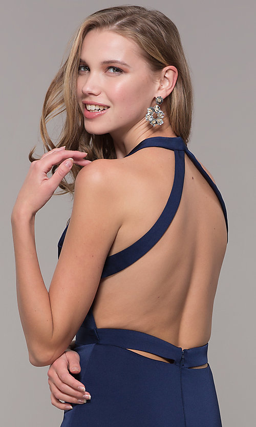 Image of v-neck long formal dress with slit and open back. Style: CD-1995 Detail Image 6