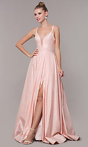 Image of satin ballgown-style long formal prom dress. Style: CD-2062 Front Image