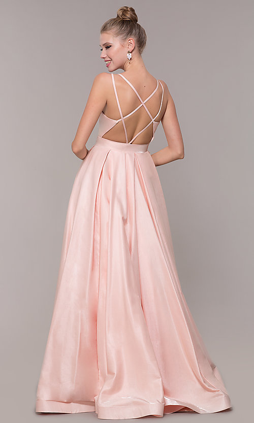 Image of satin ballgown-style long formal prom dress. Style: CD-2062 Back Image