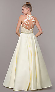 Image of long ball-gown-style high-neck formal prom dress. Style: CD-GL-G835 Detail Image 6