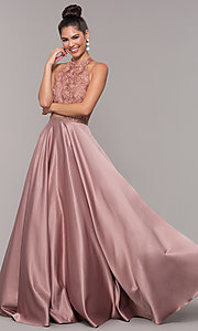 Image of long ball-gown-style high-neck formal prom dress. Style: CD-GL-G835 Front Image