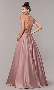 Image of long ball-gown-style high-neck formal prom dress. Style: CD-GL-G835 Back Image