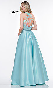 Image of long ball-gown-style high-neck formal prom dress. Style: CD-GL-G835 Detail Image 4