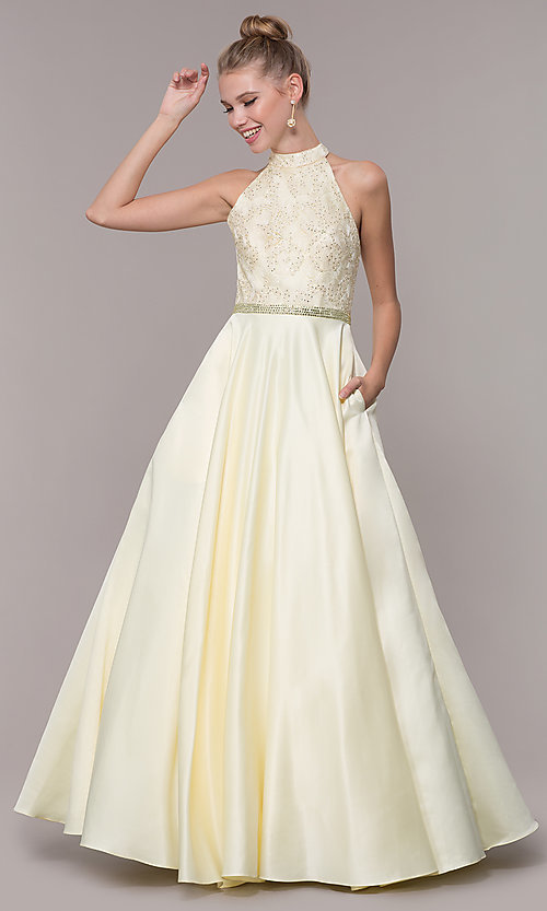 Image of long ball-gown-style high-neck formal prom dress. Style: CD-GL-G835 Detail Image 5