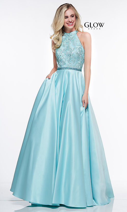 Image of long ball-gown-style high-neck formal prom dress. Style: CD-GL-G835 Detail Image 3