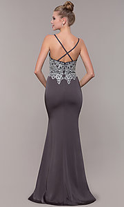 Image of long formal prom dress with metallic embroidery. Style: CD-GL-G823 Detail Image 4