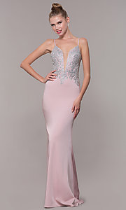 Image of long formal prom dress with metallic embroidery. Style: CD-GL-G823 Detail Image 1