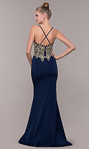 Image of long formal prom dress with metallic embroidery. Style: CD-GL-G823 Back Image