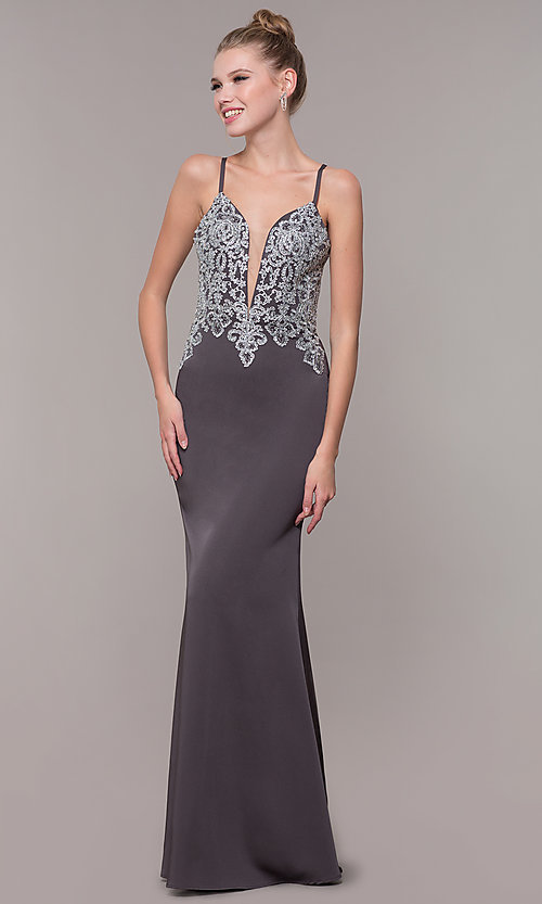 Image of long formal prom dress with metallic embroidery. Style: CD-GL-G823 Detail Image 3