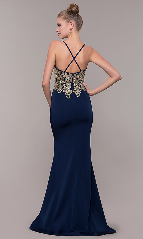 Image of long formal prom dress with metallic embroidery. Style: CD-GL-G823 Detail Image 2