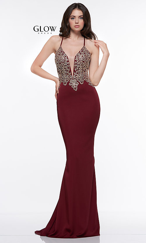Image of long formal prom dress with metallic embroidery. Style: CD-GL-G823 Detail Image 5