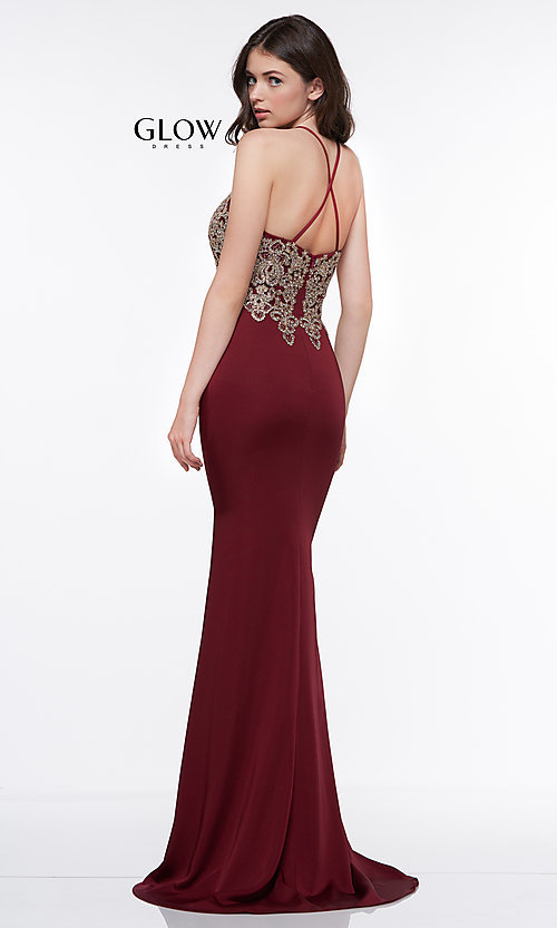Image of long formal prom dress with metallic embroidery. Style: CD-GL-G823 Detail Image 6