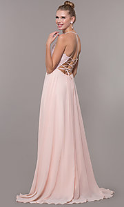 Image of embroidered-bodice v-neck open-back evening dress. Style: CD-GL-G821 Detail Image 3