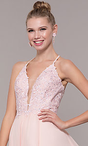 Image of embroidered-bodice v-neck open-back evening dress. Style: CD-GL-G821 Detail Image 4