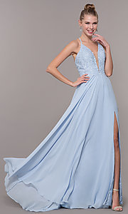 Image of embroidered-bodice v-neck open-back evening dress. Style: CD-GL-G821 Front Image
