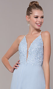 Image of embroidered-bodice v-neck open-back evening dress. Style: CD-GL-G821 Detail Image 1