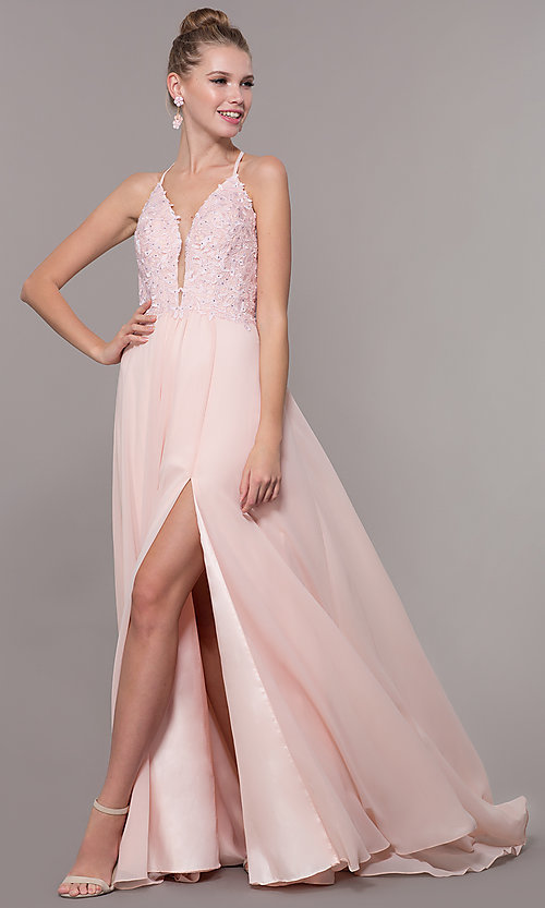 Image of embroidered-bodice v-neck open-back evening dress. Style: CD-GL-G821 Detail Image 2