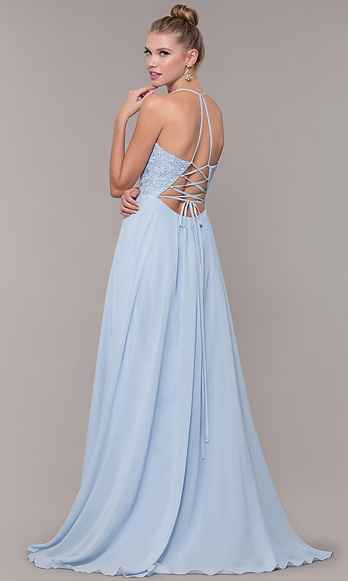 Image of embroidered-bodice v-neck open-back evening dress. Style: CD-GL-G821 Back Image