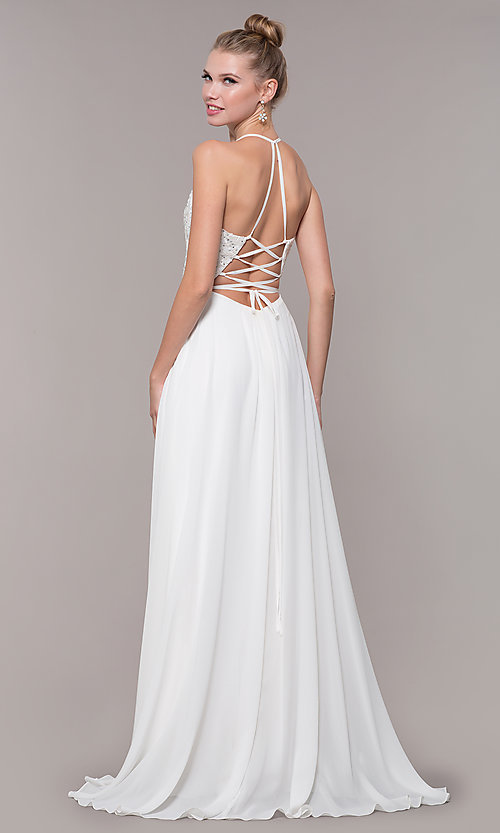 Image of embroidered-bodice v-neck open-back evening dress. Style: CD-GL-G821 Detail Image 6