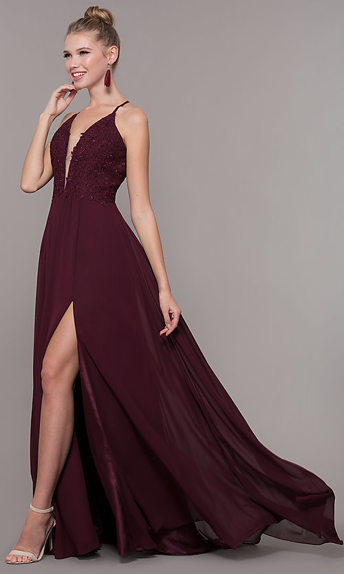 Image of embroidered-bodice v-neck open-back evening dress. Style: CD-GL-G821 Detail Image 7
