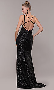 Image of long open-back sequin prom dress with train. Style: CD-GL-G844 Detail Image 5