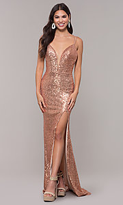 Image of long open-back sequin prom dress with train. Style: CD-GL-G844 Front Image