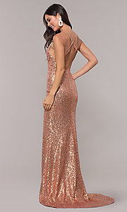 Image of long open-back sequin prom dress with train. Style: CD-GL-G844 Back Image