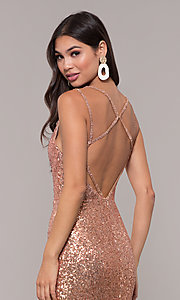 Image of long open-back sequin prom dress with train. Style: CD-GL-G844 Detail Image 2