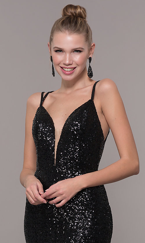 Image of long open-back sequin prom dress with train. Style: CD-GL-G844 Detail Image 6