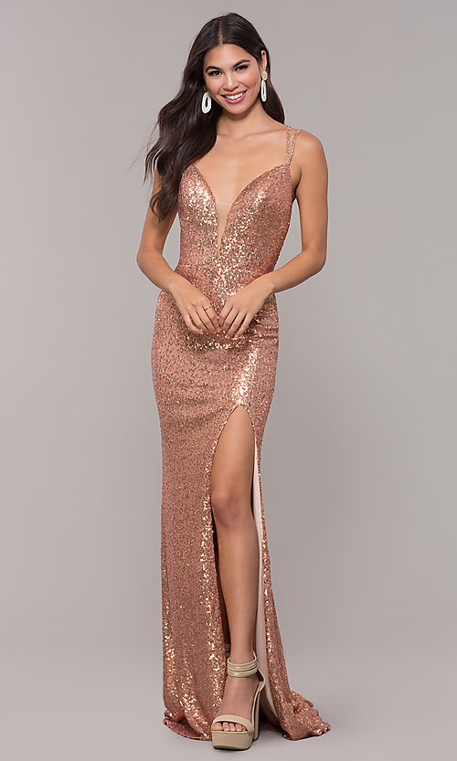 Image of long open-back sequin prom dress with train. Style: CD-GL-G844 Detail Image 3