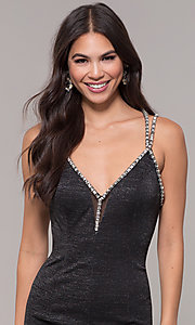 Image of metallic long formal prom dress with beaded straps. Style: CD-GL-G811 Detail Image 5