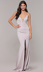 Image of metallic long formal prom dress with beaded straps. Style: CD-GL-G811 Back Image