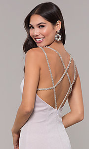 Image of metallic long formal prom dress with beaded straps. Style: CD-GL-G811 Detail Image 2
