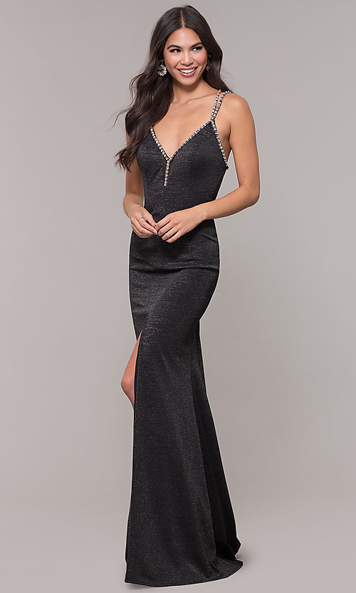 Image of metallic long formal prom dress with beaded straps. Style: CD-GL-G811 Detail Image 3