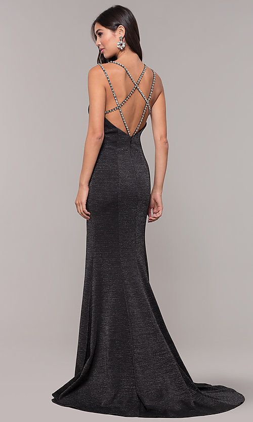 Image of metallic long formal prom dress with beaded straps. Style: CD-GL-G811 Detail Image 4