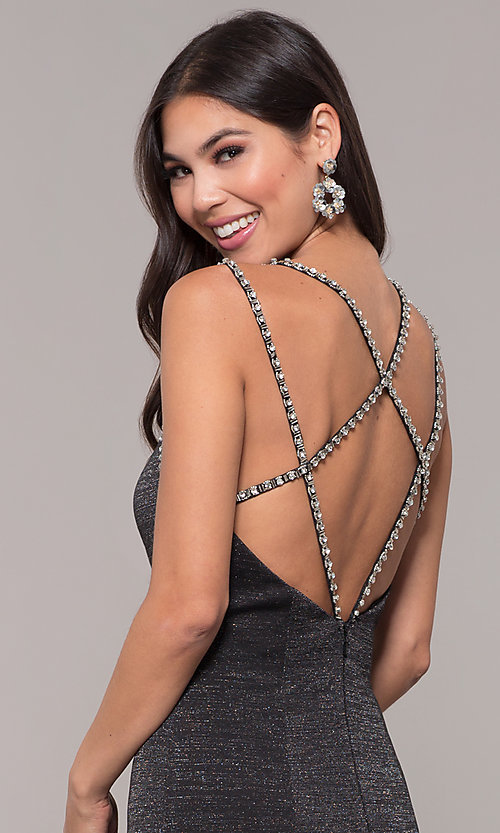 Image of metallic long formal prom dress with beaded straps. Style: CD-GL-G811 Detail Image 6