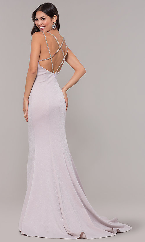 Image of metallic long formal prom dress with beaded straps. Style: CD-GL-G811 Front Image