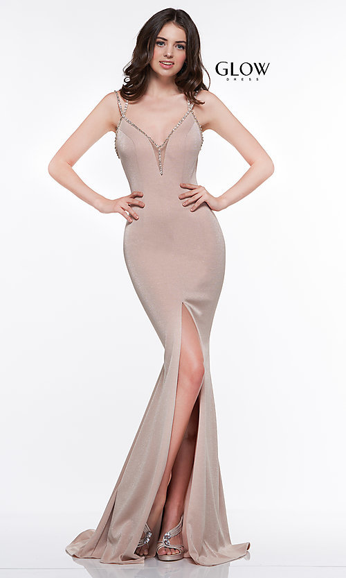 Image of metallic long formal prom dress with beaded straps. Style: CD-GL-G811 Detail Image 7