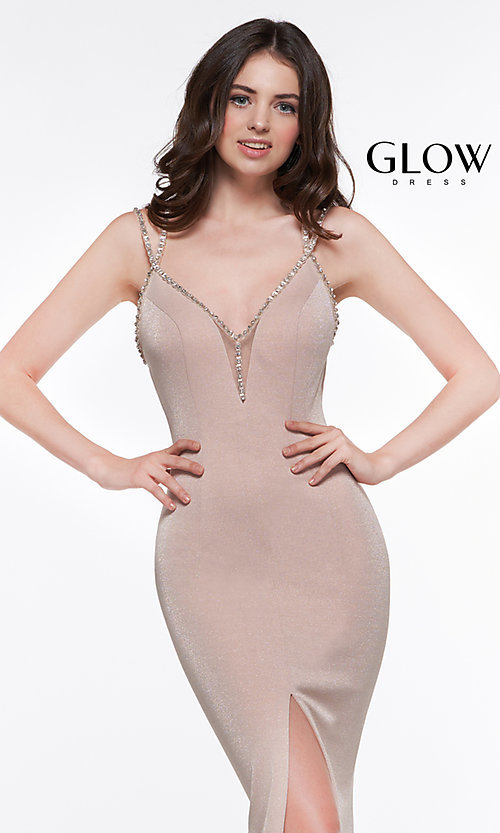 Image of metallic long formal prom dress with beaded straps. Style: CD-GL-G811 Detail Image 8