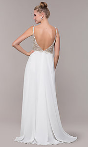 Image of open-back beaded-bodice long formal prom dress. Style: CD-GL-G848 Back Image