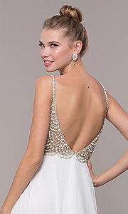 Image of open-back beaded-bodice long formal prom dress. Style: CD-GL-G848 Detail Image 2