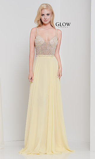Open-Back Long Sleeveless Prom Dress with Beading